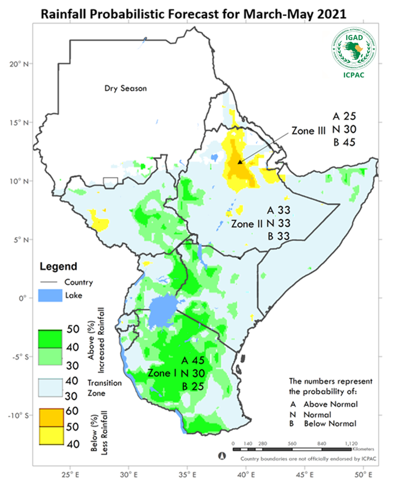 Wetter than usual season expected over most farming areas of central and southern East Africa